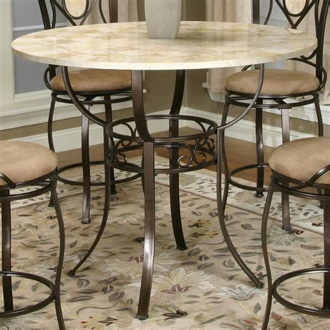 marble top bar height table bronze counter height pub table with round glacier inlaid