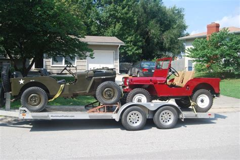jeep hauling trailer hauling two jeeps on a trailer the cj2a page forums