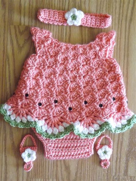 pattern newborn dress crocheted watermelon dress set for newborn girl