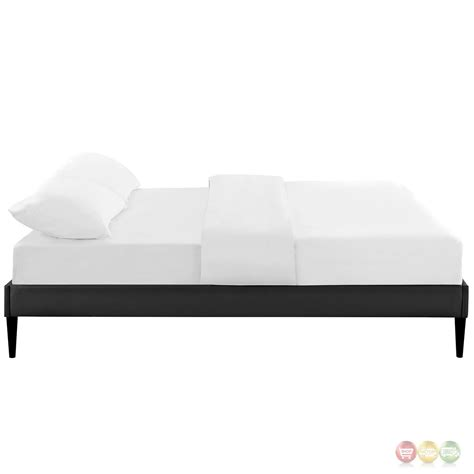 Black Platform Bed Frame Sherry Upholstered Vinyl Leather Platform Bed Frame Black