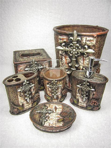 fleur de lis cross pinecone tree bark six piece bathroom set