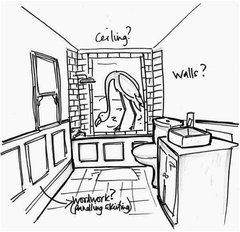 sketch of bathroom to da loos the flamingo bathroom