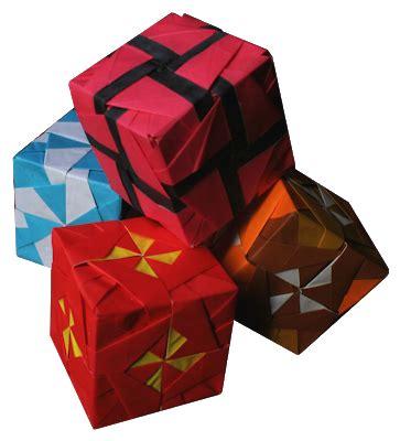 Origami Pinwheel Cube - various pinwheel cubes by kunihiko kasahara origami
