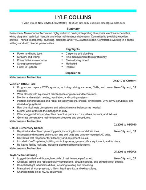 maintenance technician resume sle technician resumes