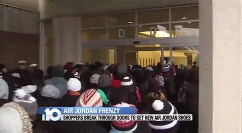 michael graves 12 pair over the door shoe organizer 9917g crazed shoppers destroy glass door to buy new air jordans