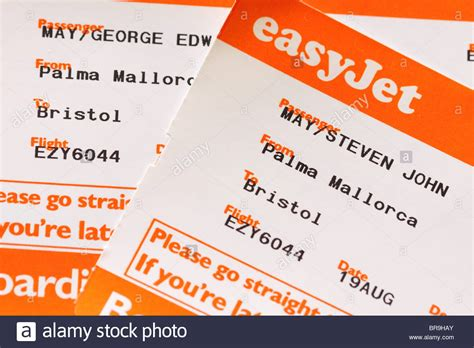 easyjet mobile boarding pass easyjet airline flight boarding pass ticket stock photo