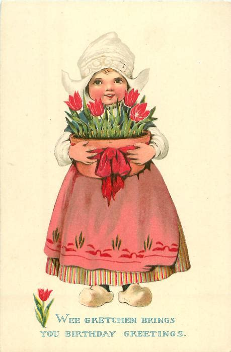 dutch girl stands holding large pot  tulips tuckdb postcards