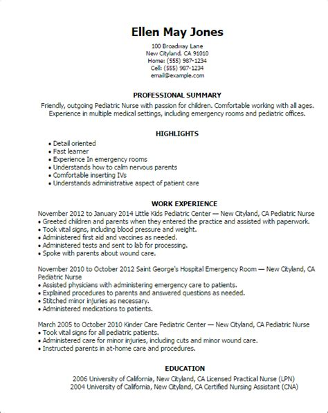 Rn Resume by 1 Pediatric Resume Templates Try Them Now