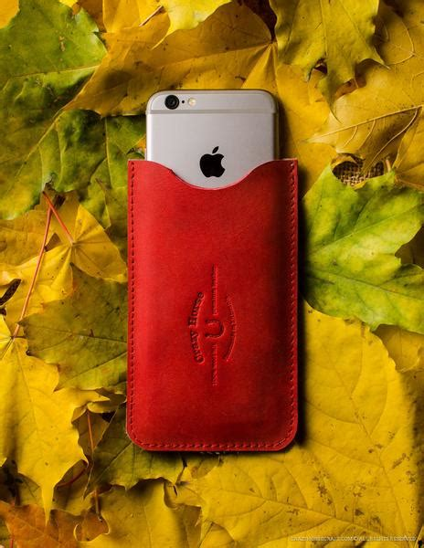 leather iphone case  card pocket autumn red crazy horse craft