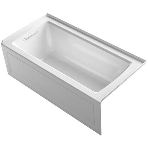 kohler acrylic bathtub reviews shop kohler archer 60 in white acrylic bathtub with left hand drain at lowes com