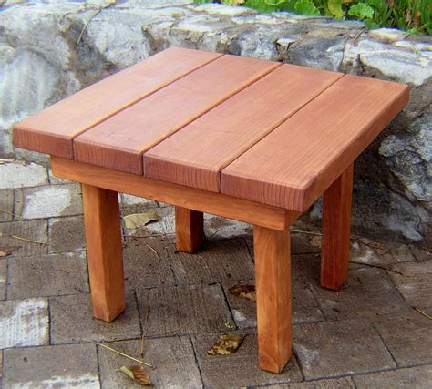 small square solid redwood side table for outdoors