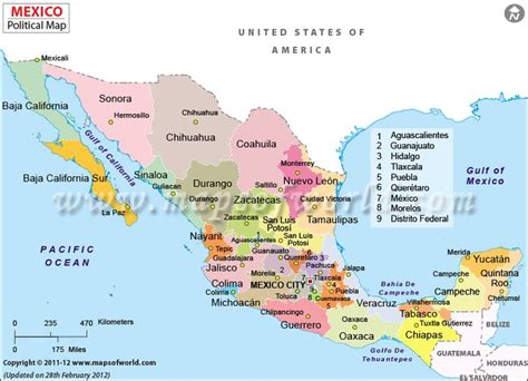 map of mexico major cities political map of mexico features states capitals