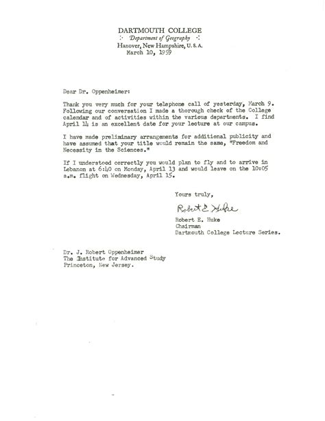 Permission Letter In College Letter From Robert Huke Dartmouth College To Robert Oppenheimer Princeton 10