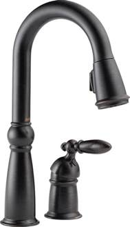 venetian bronze kitchen faucet delta single handle pull sprayer kitchen faucet in venetian bronze with magnatite