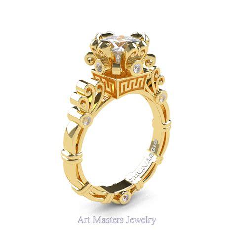 Yellow Sapphire 1 5 Ct masters caravaggio 14k yellow gold 1 5 ct princess white sapphire engagement ring