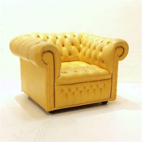 On Leather Chesterfield Club Sessel Gelb Mbel Zrich