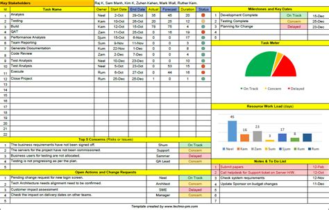 One Page Project Manager Excel Template Download Microsoft Excel Pinterest Template One Page Project Overview Template