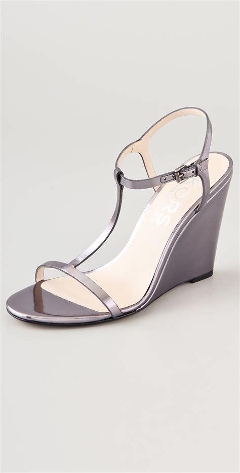 grey sandal wedges kors by michael kors ruby t wedge sandals in gray lyst