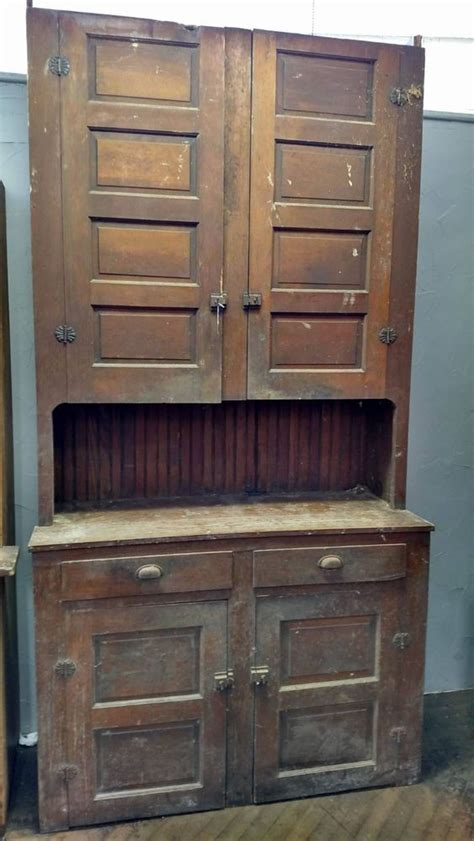 large kitchen cabinet farmhouse antique primitive early large stepback