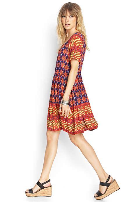 Forever21 Orange Dress forever 21 contemporary print shift dress in orange lyst