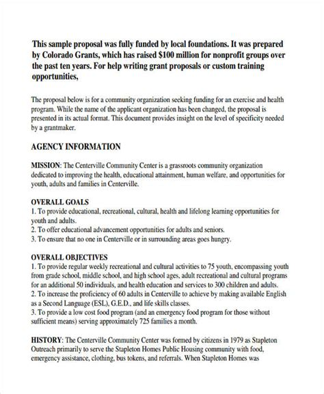 layout of a funding proposal 6 non profit proposal exles sles