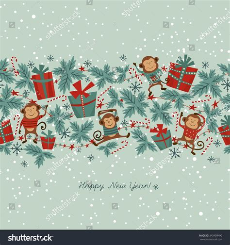 new year monkey border seamless border new year stock vector