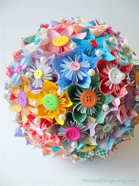 Origami Bridal Bouquet - creativity flower and buttons on
