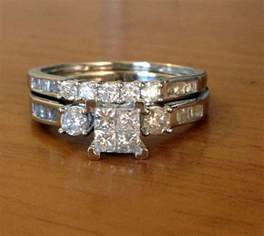 engagement ring wedding set 10k white gold princess cut diamonds engagement