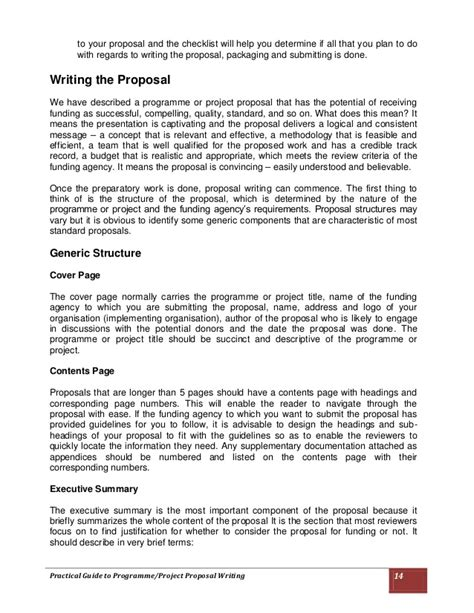 project design proposal writing practical guide to programme project proposal writing