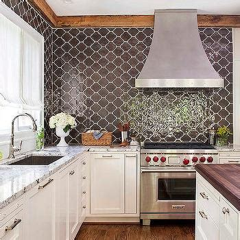 moroccan tile kitchen backsplash white and brown kitchen with brown granite