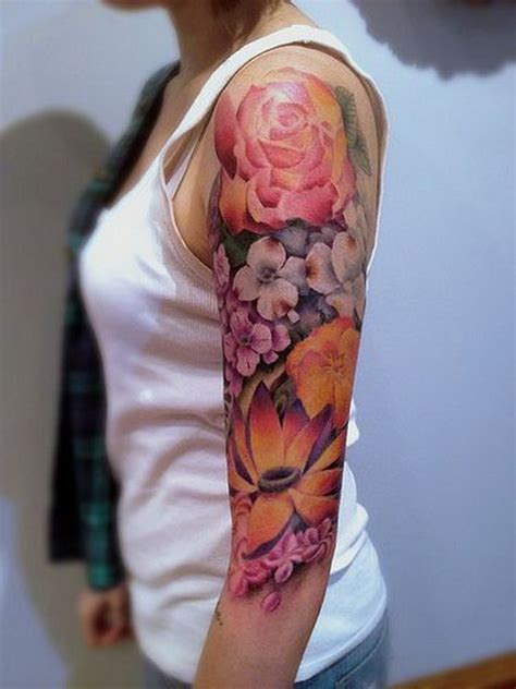Tattoo Flower Half Sleeves | 40 cool and pretty sleeve tattoo designs for women