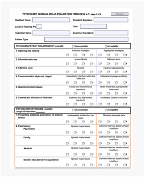 Mental Status Exam Form 7 Free Documents In Word Pdf Psychiatric Examination Template