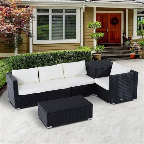 Outsunny 6pc Rattan Wicker Set Garden Sectional Furniture