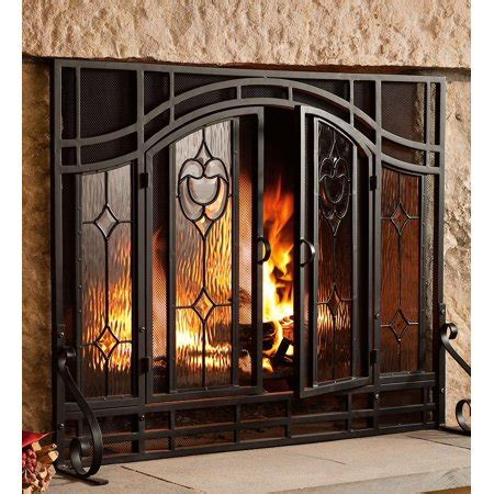 glass fireplace doors walmart 2 door floral fireplace screen w beveled glass panels in