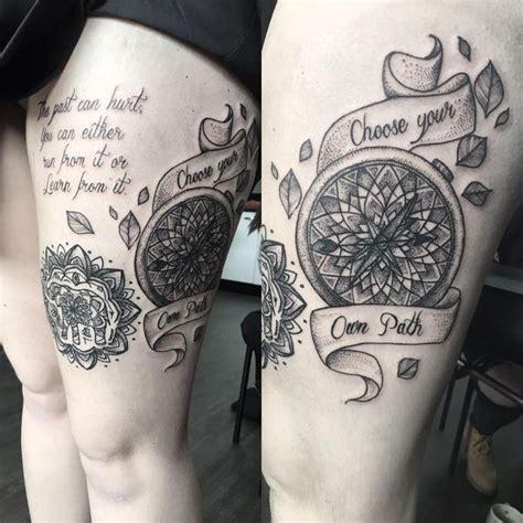 upper leg tattoo mandala compass tattoo meanings nautical designs ideas 2018