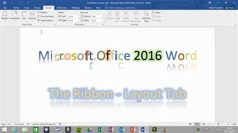 layout office word layout tab the ribbon word 2016 youtube