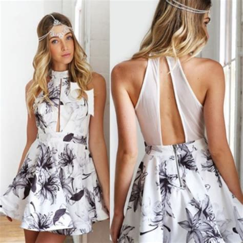 Get The Look Black White Floral Dresses For 100 by Dress Dress Mini Dress Floral Dress Black White