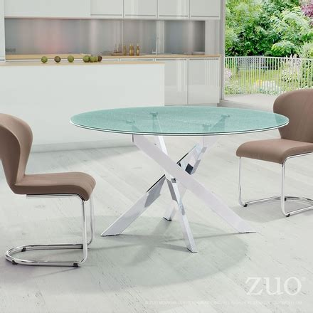 tempered glass conference table zuo stance conference table crackled tempered glass 102139