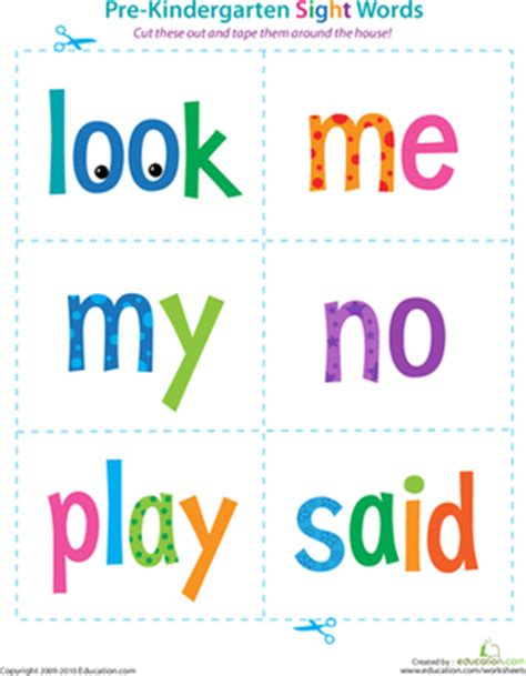 printable reading flashcards for toddlers pre kindergarten sight words look to said preschool