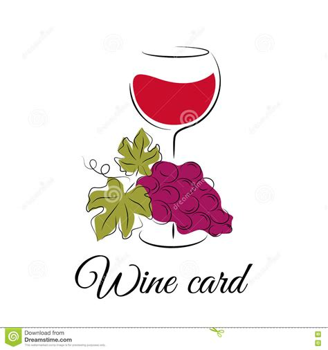 card with logo template wine glass with grape wine card logo template stock