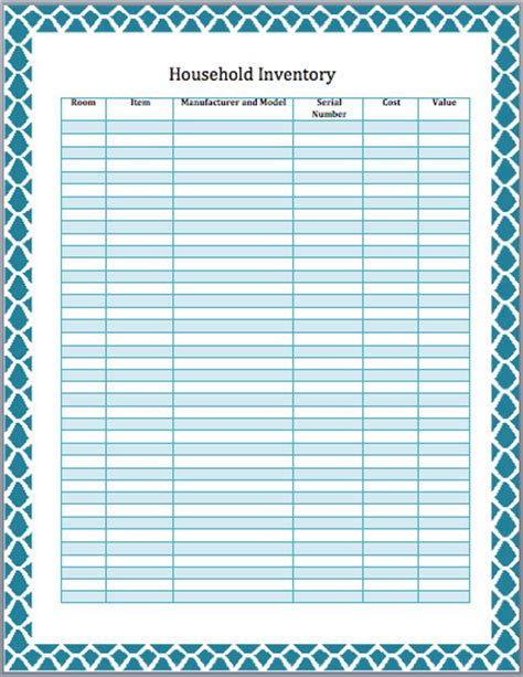 furniture inventory template household inventory list template format template