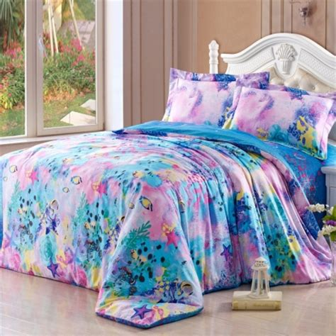 cute queen bedding aqua blue and pink ocean wonders themed cute marine life
