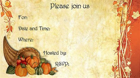 thanksgiving invitation card template 9 best images of free printable thanksgiving invitations