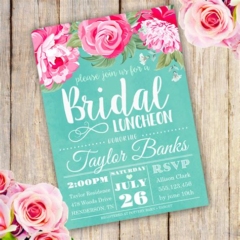 invitations for bridal shower luncheon bridal shower luncheon invitation template edit with