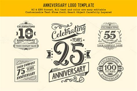 anniversary logo template logo templates on creative market