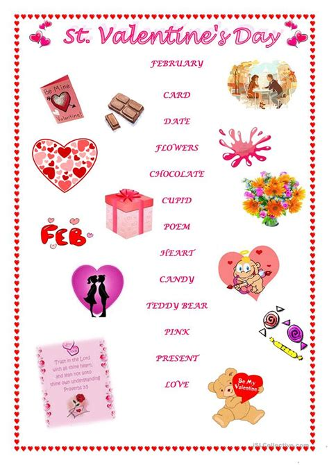 valentines card esl st s day matching vocabulary worksheet free