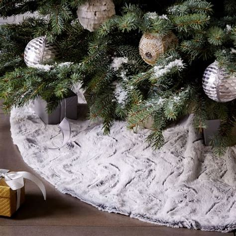 faux fur tree skirt stone white swirl west elm