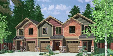 multiplex housing plans small triplex house plans craftsman exterior town house plans t 407