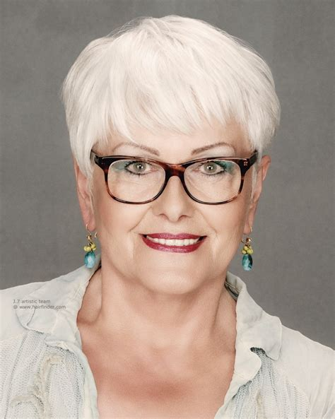 pictures of wearing the haircut short haircut for older women with white hair who wear glasses