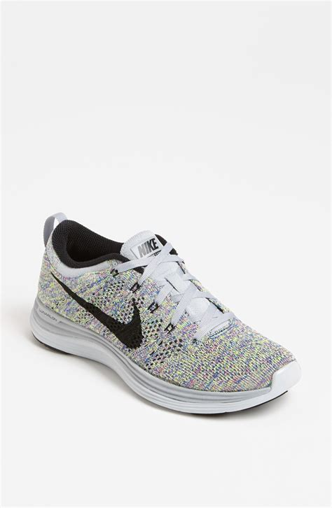 black nike running shoes nike flyknit lunar1 running shoe in multicolor wolf grey